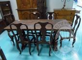 Fall. Ristorante 3 Pini Sas n. 579/2016 - Tavolo rettangolare in legno scuro stile arte povera 73 x 177 + sei sedie in legno senza seduta